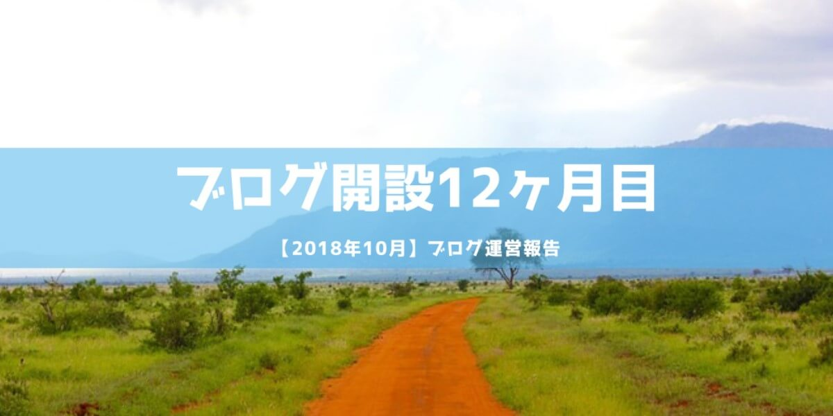 ブログ開設12ヶ月目【2018年10月】運営報告