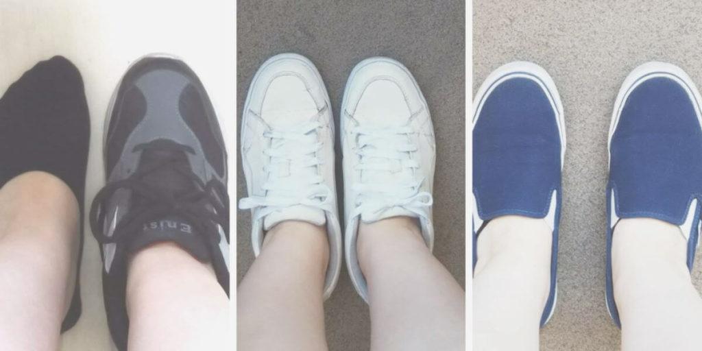 ユニクロのベリーショートソックスはいて靴履いた写真(3パターン)